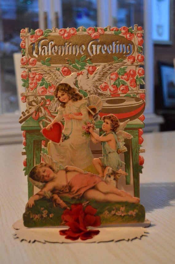 Large Antique Pop Up Victorian Valentine  So by TheOldBarnDoor