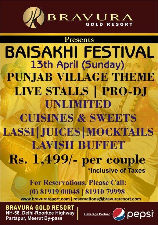 Celebrate Baisakhi Festival 2014 at Bravura Resort, Meerut on 13th April, 2014