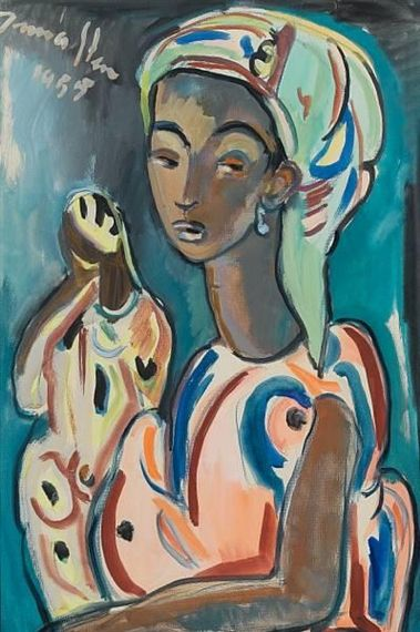 'Study of a Congolese woman' (1955) by South African artist Irma Stern (1894-1996). Gouache, 19.75 x 13 in. via Mutual Art