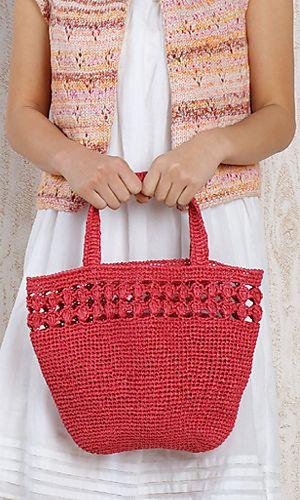 Crochet japanese handbag--so cute. Free pattern download from Pierrot Yarns (Gosyo Co. Ltd)