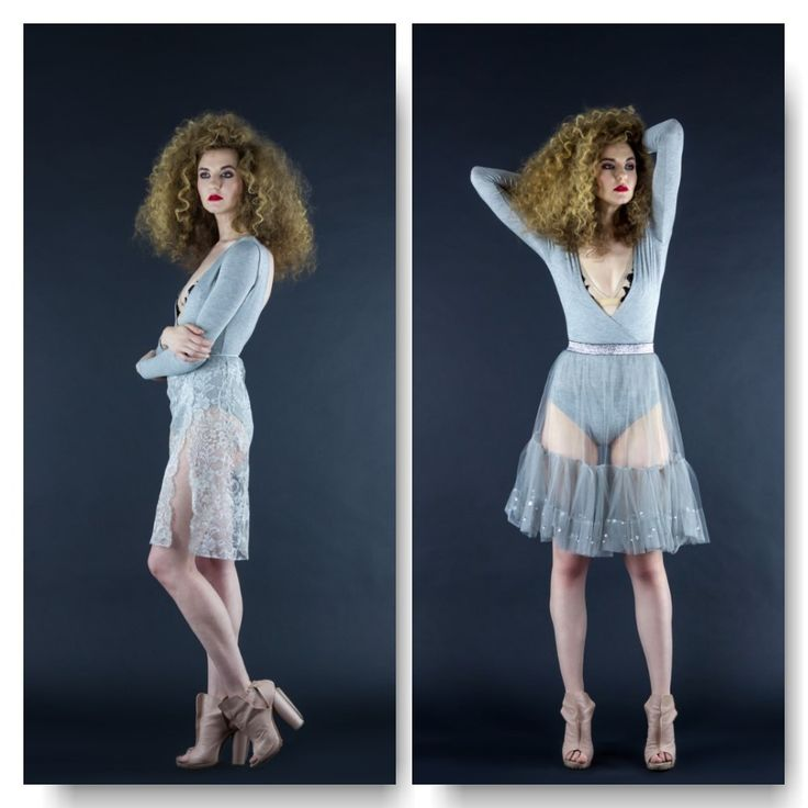 Grey cotton bodysuit with long sleeves  Price: 200 RON Lace skirt  Price: 220 RON Mesh skirt  Price: 250 RON