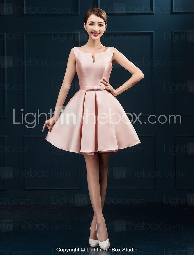 Coquetel Vestido De Baile Decote em U Curto / Mini Cetim com Faixa / Fita de 3728051 2016 por R$190,46
