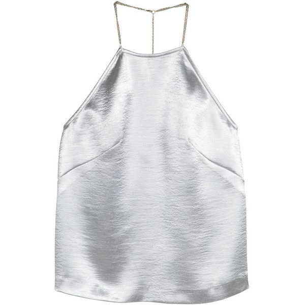 H&M Metallic top (£20) ❤ liked on Polyvore featuring tops, shirts, tanks, crop tops, silver, chain shirt, metallic tank top, metallic tank, low back top and shirts & tops