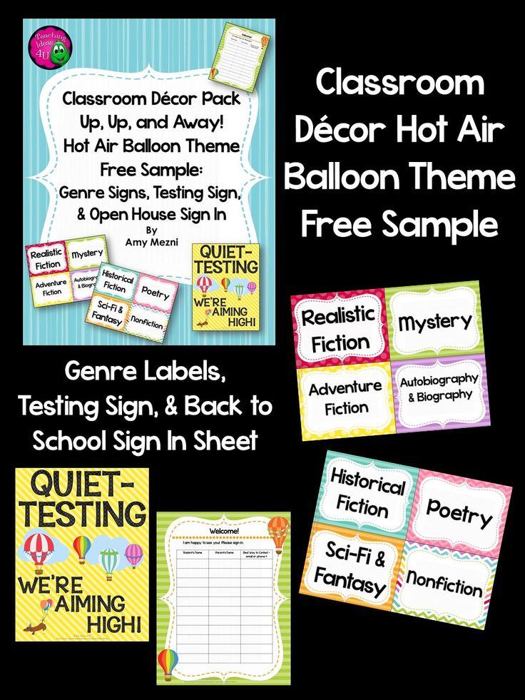 Free Sample Of My Hot Air Balloon Themed Classroom Decor