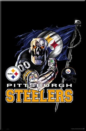 Pittsburgh Steelers football logo framed poster, Steelers helmet