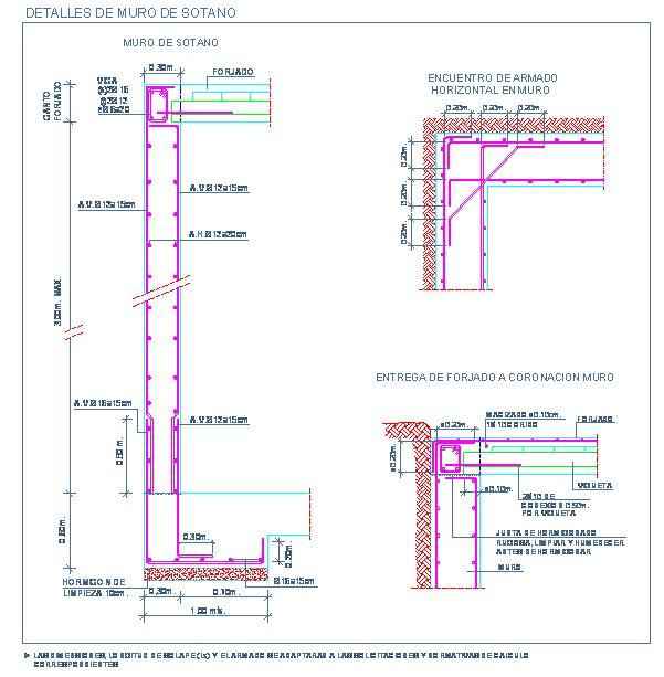 Detalle de muro de sotano de hormigón armado y entrega de forjado unidireccional | detallesconstructivos.net