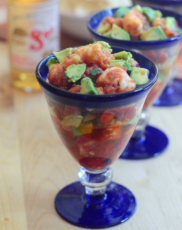 Mexican Shrimp Cocktail   | 10 Succulent Mexican Shrimp Recipes | These Are Easy, Classic, Delicious And So Perfect For Dinner by Homemade Recipes at http://homemaderecipes.com/10-mexican-shrimp-recipes/