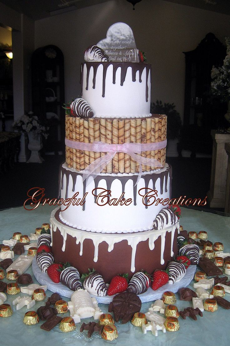 https://flic.kr/p/Sd5wnY | Chocolate Themed Wedding Cake with Hand Made Chocolates, Chocolate Dipped Strawberries and Pirouette Cookies