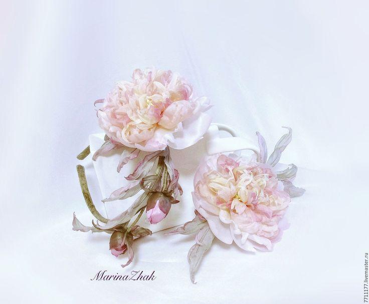 """Купить """" Пионовый сад""""-2 - комплект аксессуаров из натурального шёлка - бледно-розовый"""