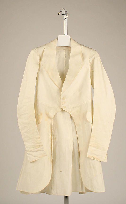 Coat 1840, American, Made of linen