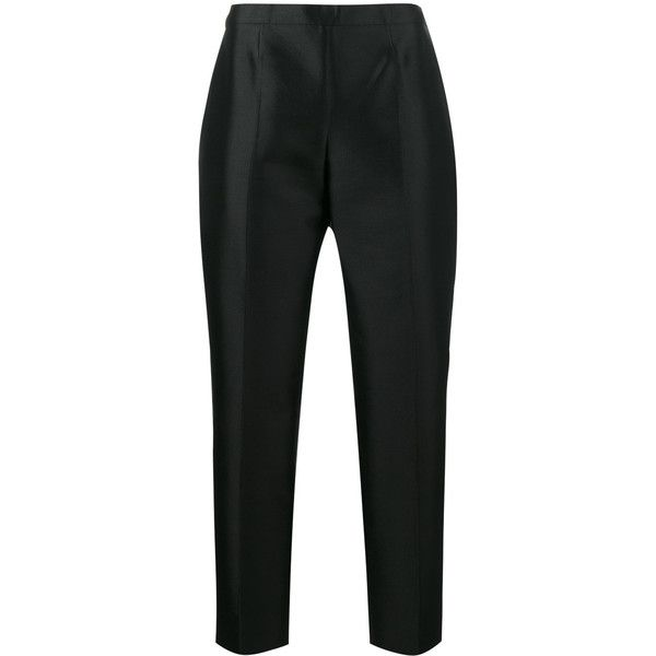 Prada high waisted cigarette trousers (10792670 PYG) ❤ liked on Polyvore featuring pants, capris, black, high rise pants, prada, high-waisted pants, high waisted cigarette pants and high-waist trousers