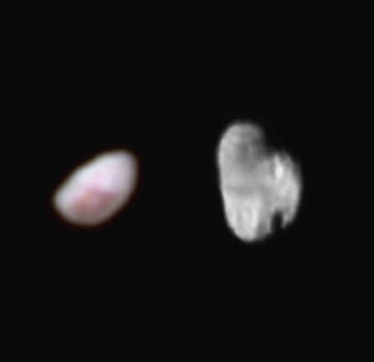 New Horizons images of Pluto's moons Nix and Hydra. Pluto's moon Nix (left), shown here in enhanced color as imaged by the New Horizons Ralph instrument, has a reddish spot that has attracted the interest of mission scientists.