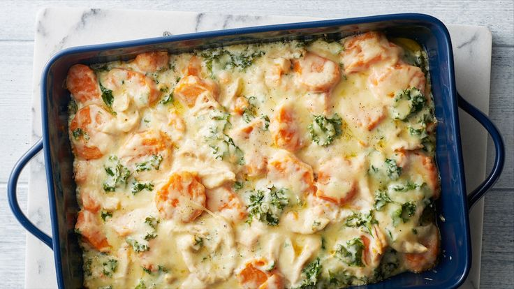 This casserole takes comfort food to a whole new level. Tender sweet potatoes, chicken and kale are the coziest combination when paired with tangy Gruyère or Swiss cheese.