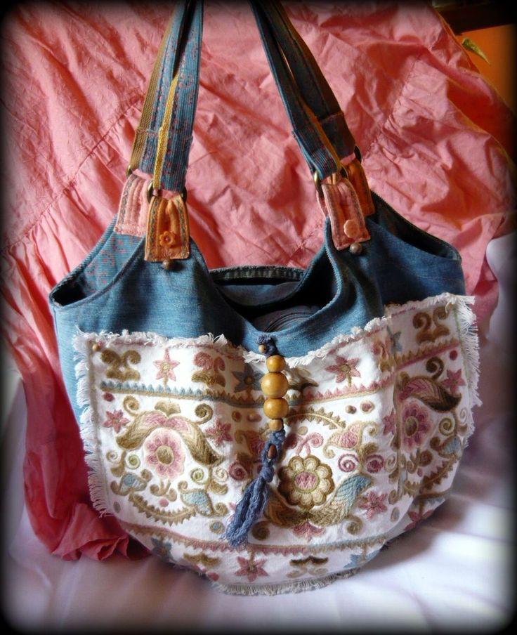 Handmade by Judy Majoros - Hódmezővásárhelyi Embroidery - Hungarian  Recycled bag. Denim hobo bag. beaded-fringe hobo bag.