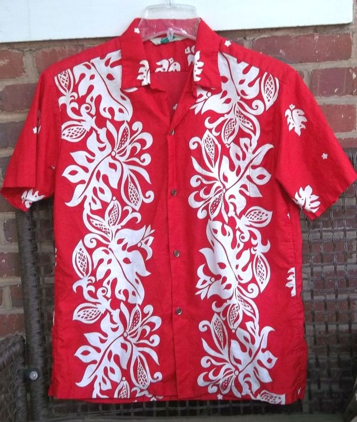 1960's Malihini L Red Hawaiian Shirt Monstera Leaves Metal Buttons Hidden Pocket #Malihini #Hawaiian