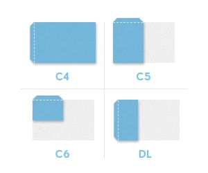 C6 envelope size dimensions & measurements in millimeters, centimeters & inches. Diagram showing how C6 relates to DL & other envelope sizes in the C Series