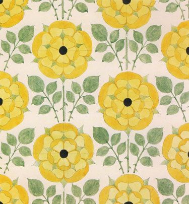 Floral textile design, United Kingdom, 1929, by C.F.A. Voysey.