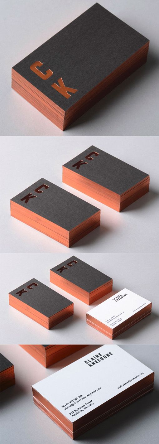 Luxurious Copper Foiled Black Business Card Design