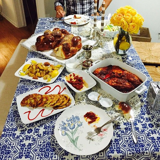 Here is a little image from last Shabbat!!! I made home made Chilean sea bass chraimeh, potato pancakes, Israeli salad and yummy challah!