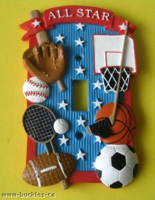 ALL STAR SPORTS LIGHT SWITCH WALL PLATE COVER CHILDREN