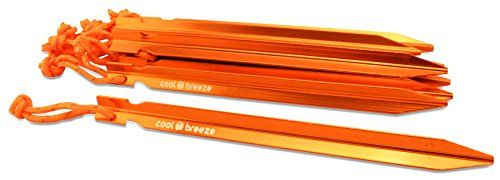 Tent Stakes 10 pack Aluminum Tent Pegs 7 High Strength and Lightweight with carry bag Ground and Sand Pegs  by Cool Breeze ** Find out more about the great product at the image link.