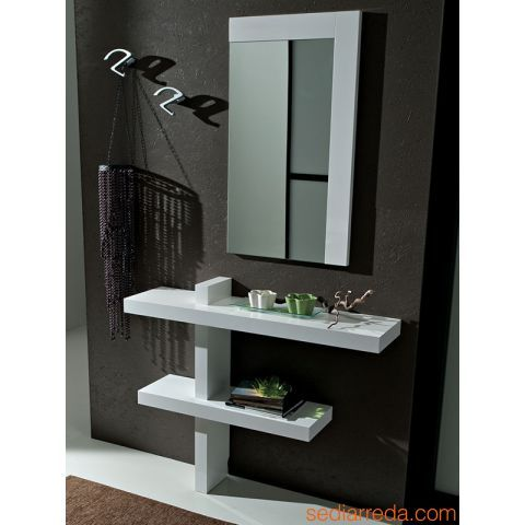 Pa240 mueble de entrada en blanco brillante perchero de for Modelos de percheros