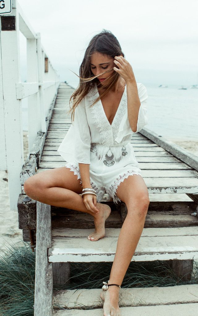 Festival inspired white crochet playsuit with Liana Belt (sold separately). Click to shop.