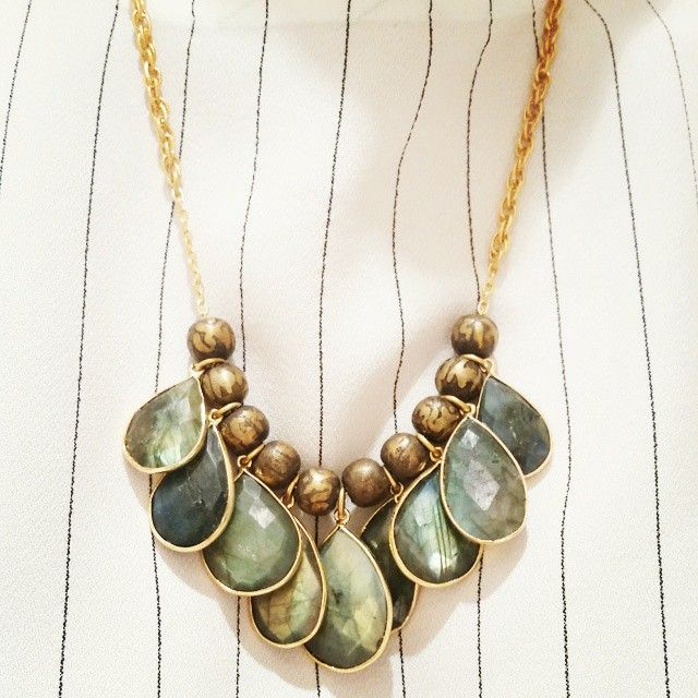 #Labradorite Drops #Necklace  #Shop Now on http://etyandelle.com/collections/rock-on