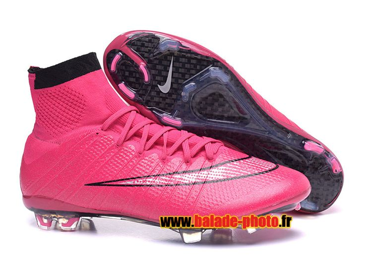 2015 Nike Mercurial Superfly FG Bottes de football Crampons rose noir 5856