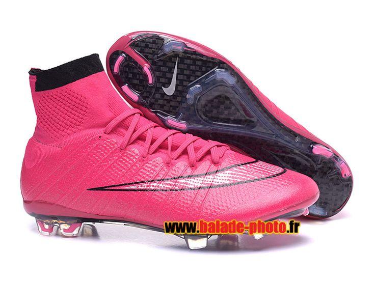 2015 Nike Mercurial Superfly FG Bottes de football Crampons rose noir 5856