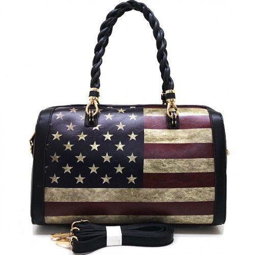 Vintage American Flag Boston Style Handbag