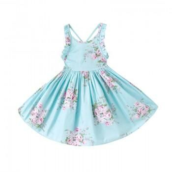 Pretty Floral Ruffle Sleeveless Dress for Baby Girl
