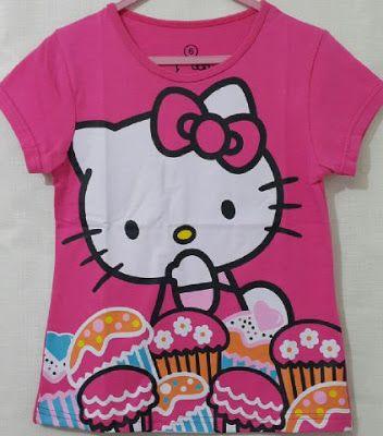 Raeesadiva ( Distributor Kaos Anak Karakter Cikarang ): Atasan Kaos Anak Karakter Hello Kitty CupCake