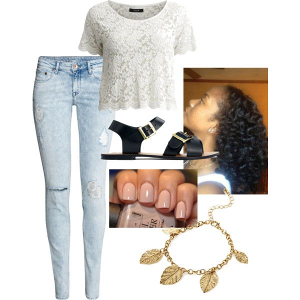 """""""#102.Lace Top and Distressed Jeans Outfit"""" by yvon-tani-jackson on Polyvore"""