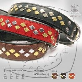 Diamond Brass halsband Rood Mooie#100% zacht lederen halsband#100% brass stenen#De halsband is gevoerd dus extra dik.