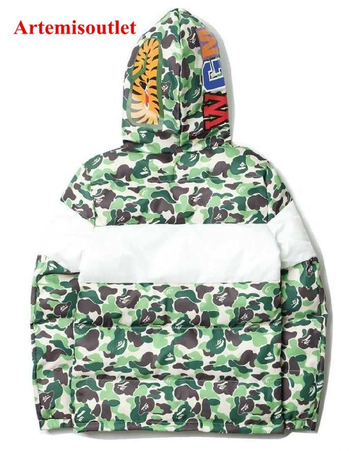 a0c3bd34c0b3 Bape Japan Style Shark Head Black Green Camo Splice Thicken Cotton Clothes   bapejacket  bapejackets  offwhitejaket  offwhitejacket…