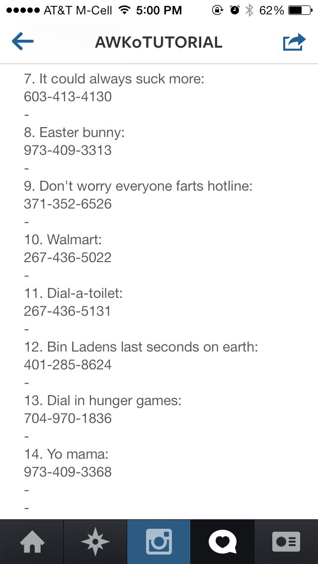 Phone numbers to call when bored