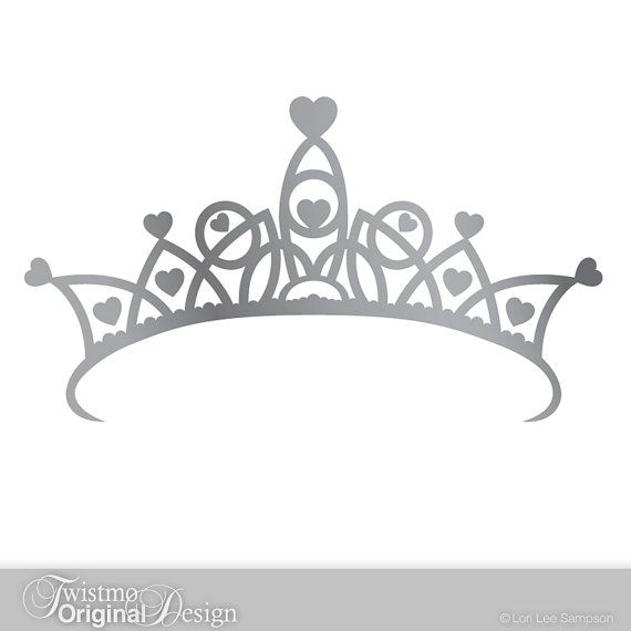 Black Crown Wall Decor : Princess crown decal large ornate of hearts vinyl