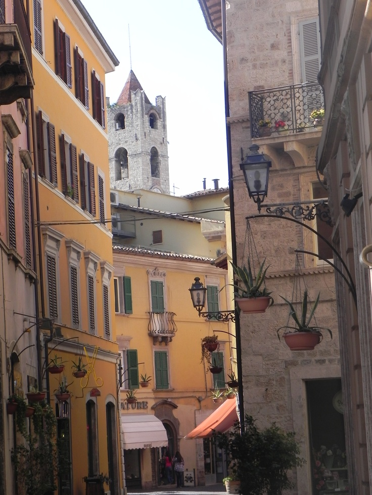 """Ascoli Piceno DownTown: the tower you can see here is in the """"People Square"""", the historic square of Ascoli Piceno. That precise tower is the highest point of the """"Captain's Palace"""", an historical and politically important building in Ascoli Piceno"""