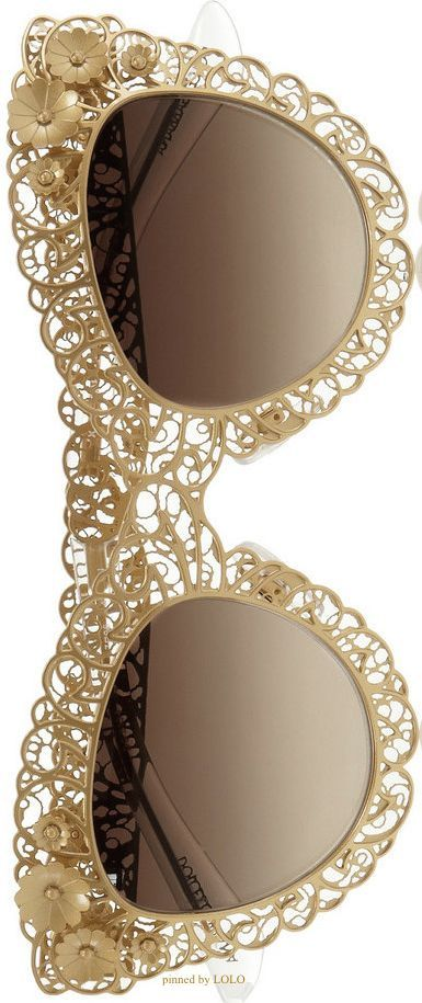 DOLCE GABBANA Cat Eye Filigree Gold-Tone Sunglasses | LOLO❤︎