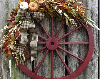 16 Best Wagon Wheel Wreath Wood Rustic Primitive