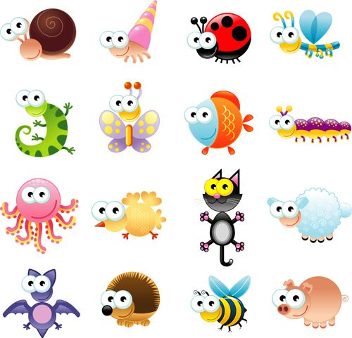 Big-eyed insects and animals vector free