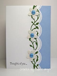 "lovely handmade card ... simple design ... luv how the flower ""vine"" fits the large scalloped border ..."