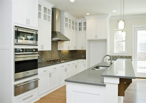 Gray quartz countertops much more sanitary than granite and doesnt require any maintanance like - Pictures of kitchens with quartz countertops ...