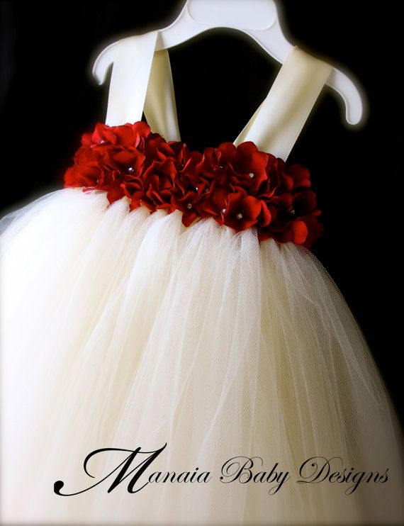 Flower Girl Tutu Dress / Red and Ivory Flower por ManaiaBabyDesigns
