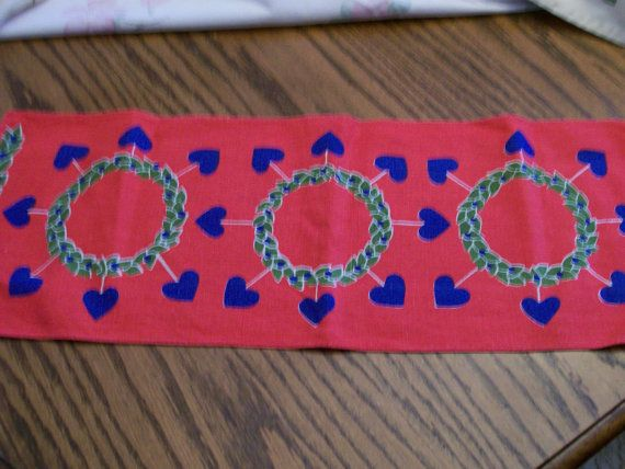 Scandinavian Table Runner Red  with Blue by FabVintageEstates, $9.50