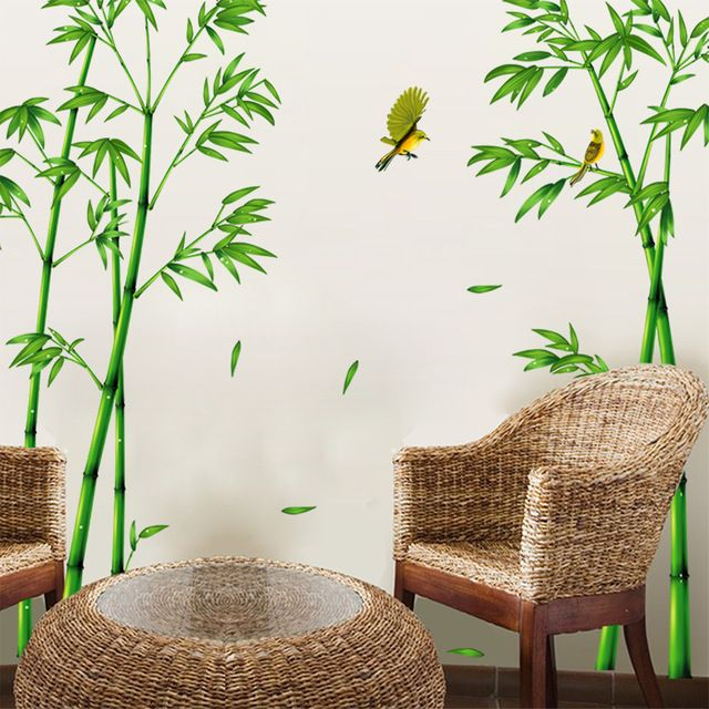 2pcs Green Bamboo Forest Depths Wall Stickers Creative Wall Decals Chinese Style DIY Home Decoration Accessories for Living Room