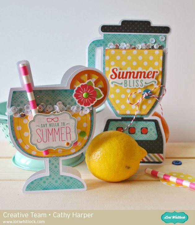 Lori Whitlock Blender & Lemonade Glass Shaped Cards by Cathy Harper.