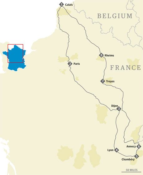 Paris, Dijon, Lyon and Annecy map