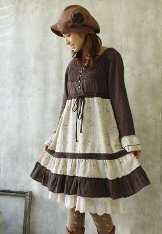 2015 осенью новый женщин винтажное платье мори девушка цветочные ретро лолита каваи трикотажные швы хлопок свободно длинными рукавами , платья купить на AliExpress